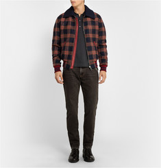 Dolce & Gabbana Leather-Trimmed Check Wool Bomber Jacket