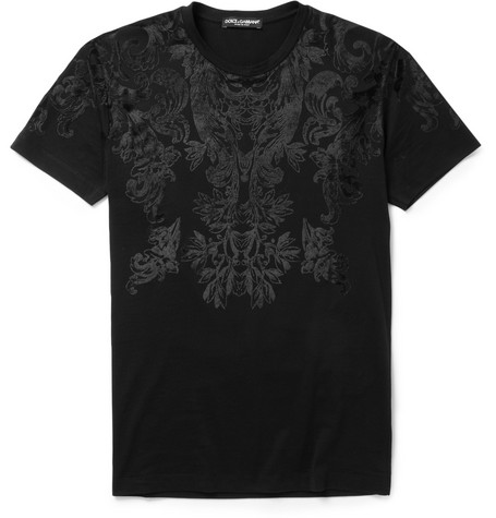 Dolce & Gabbana Flocked Cotton-Jersey T-Shirt