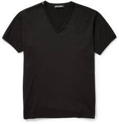 Dolce & Gabbana V-Neck Cotton-Jersey T-Shirt