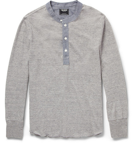 Todd Snyder Chambray-Trimmed Cotton-Jersey Henley T-Shirt