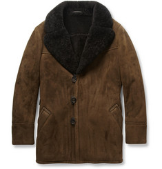 Berluti Shearling Shawl-Collar Coat