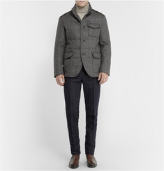 Berluti Down-Filled Cashmere Herringbone Coat