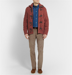 Berluti Suede-Trimmed Chunky Cashmere Cardigan