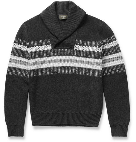 Berluti Suede-Trimmed Striped Cashmere Sweater