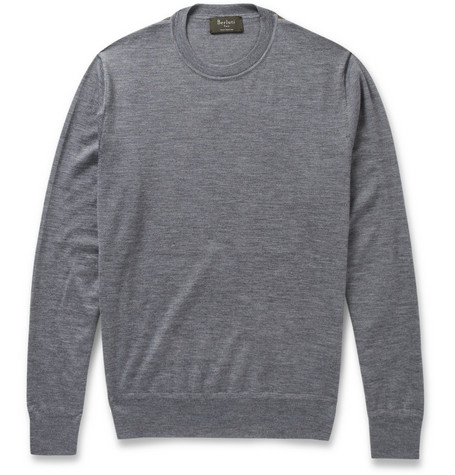 Berluti Leather-Trimmed Fine-Knit Cashmere and Silk-Blend Sweater