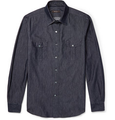 Berluti Washed-Silk and Denim Shirt