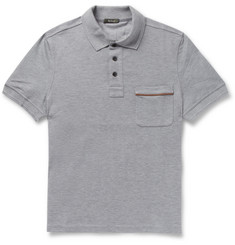 Berluti Leather-Trimmed Cotton-Pique Polo Shirt