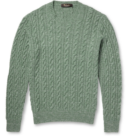 Loro Piana Cable-Knit Baby Cashmere and Silk-Blend Sweater
