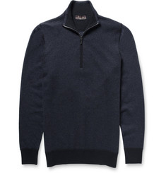 Loro Piana Roadster Zip-Collar Striped Cashmere Sweater