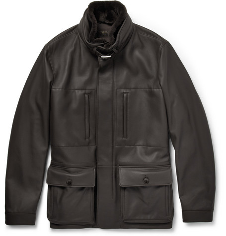 Loro Piana Beaver-Trimmed Leather Jacket