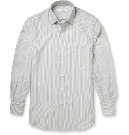 Loro Piana Striped Silk Oxford Shirt