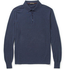 Loro Piana Cotton and Cashmere Fine-Knit Polo Shirt