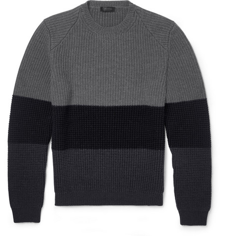 Calvin Klein Collection Striped Chunky-Knit Wool Sweater