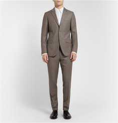 Calvin Klein Collection Brown Brushed-Wool Suit Trousers
