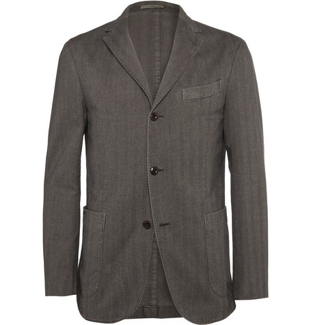 Boglioli Unstructured Herringbone Cotton Blazer