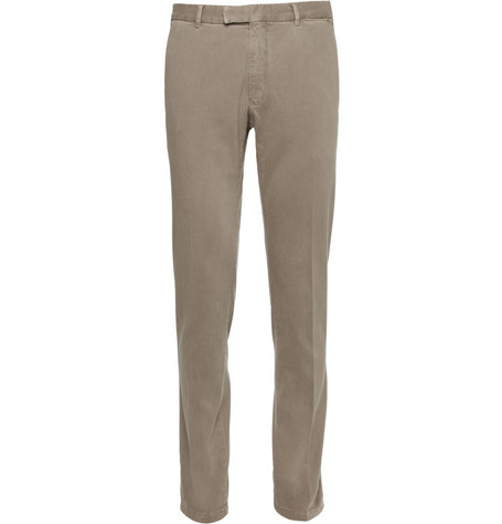 Boglioli Tapered Garment-Dyed Cotton-Blend Twill Trousers