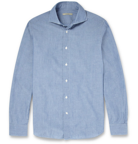 Boglioli Cutaway-Collar Cotton-Chambray Shirt