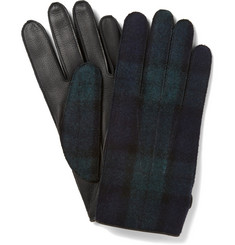 Lanvin Cashmere-Lined Check Leather Gloves