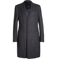 Faconnable Check Woven-Wool Overcoat
