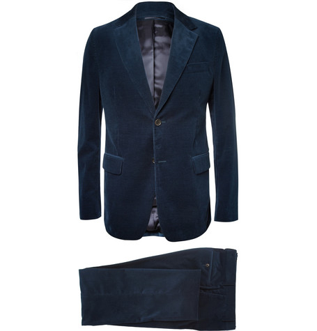 Faconnable Blue Slim-Fit Corduroy Suit