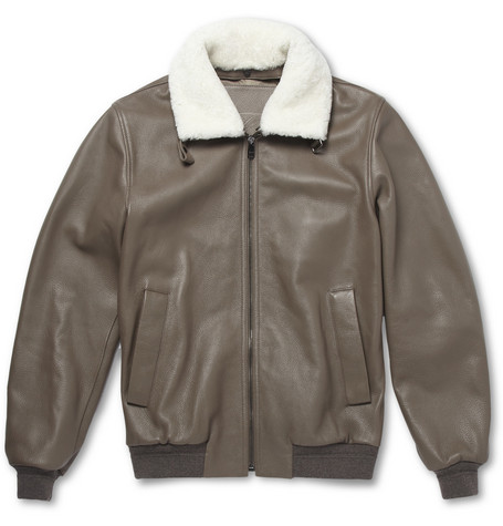Faconnable Shearling-Trimmed Leather Bomber Jacket