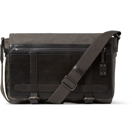 Dolce & Gabbana Leather and Canvas Messenger Bag