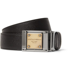 Dolce & Gabbana 3cm Reversible Cross-Grain Leather Belt