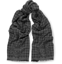 Dolce & Gabbana Houndstooth Modal, Wool and Silk-Blend Scarf