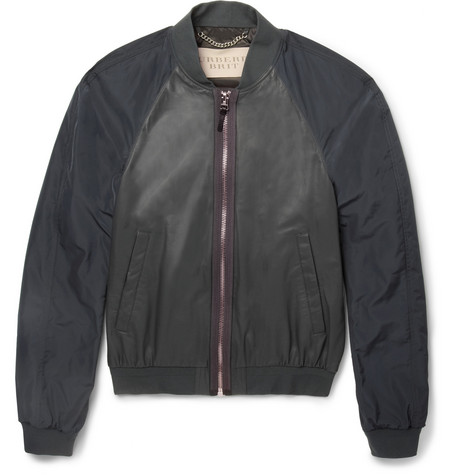 Burberry Brit Leather Panelled Lightweight Bomber Jacket