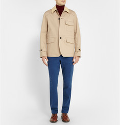 Burberry London Leather-Collar Bonded-Cotton Jacket