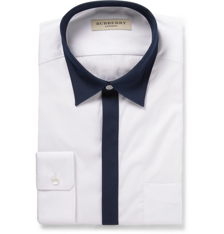 Burberry London White Slim-Fit Contrast-Trim Cotton Shirt