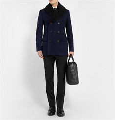 Burberry London Shearling-Collar Peacoat