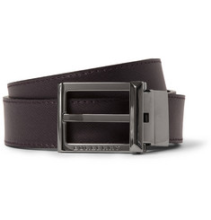 Burberry Shoes & Accessories 3cm Reversible Cross-Grain Leather Belt