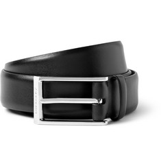 Burberry Shoes & Accessories Black 3cm Check Print-Lined Leather Belt