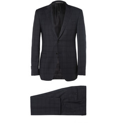 Canali Navy Slim-Fit Plaid Wool Suit