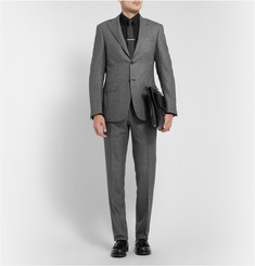 Canali Grey Capri Patterned Wool Suit