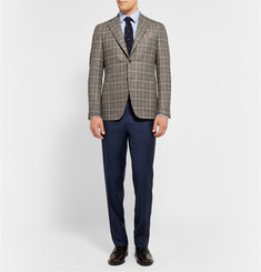 Canali Kei Unstructured Checked Wool Blazer