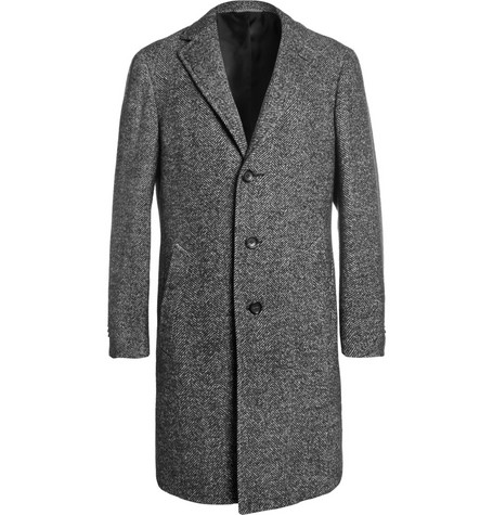 Canali Kei Unstructured Herringbone Wool-Blend Overcoat
