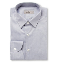 Canali Blue Slim-Fit Printed Cotton Shirt