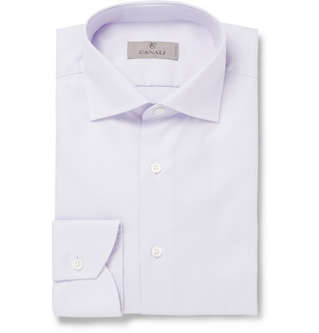 Canali Lilac Cotton-Oxford Shirt