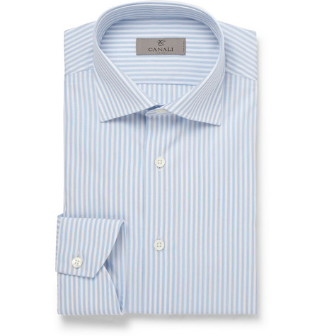Canali Blue Striped Jacquard Cotton Shirt