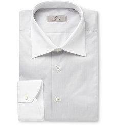 Canali Striped Contrast-Collar Cotton Shirt