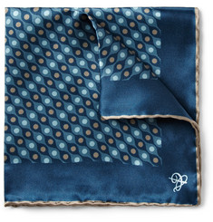 Canali Circle-Print Silk Pocket Square