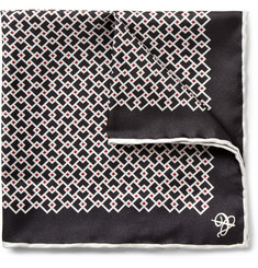 Canali Geometric-Print Silk Pocket Square