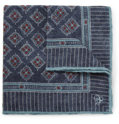 Canali Printed Wool Pocket Square