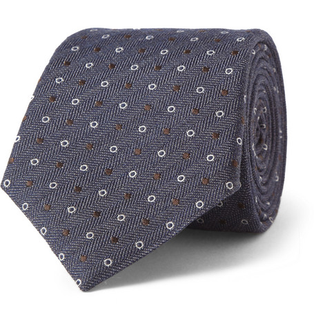 Canali Patterned Wool and Silk-Blend Tie