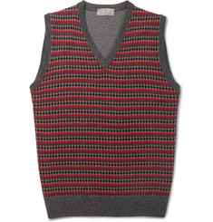 Canali Patterned Sleeveless Merino Wool Sweater