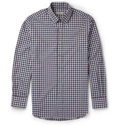 Canali Check Cotton Button Down Collar Shirt