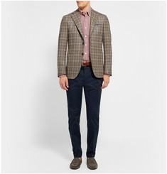 Canali Striped Button-Down Collar Cotton-Poplin Shirt