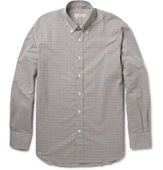 Canali Check Button-Down Collar Cotton Shirt